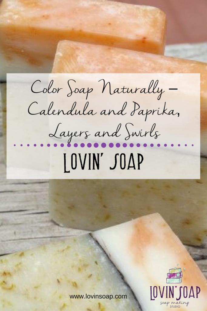 calendula and paprika soap swirl