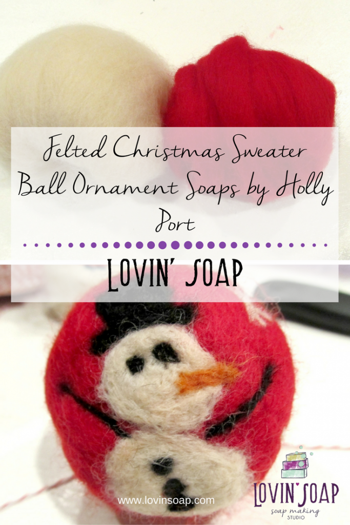 Felted Christmas Sweater Ball Ornament Soaps by Holly Port