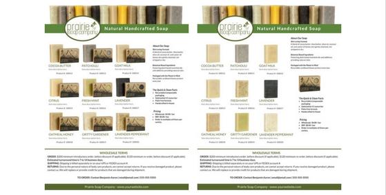 soap wholesale linesheet