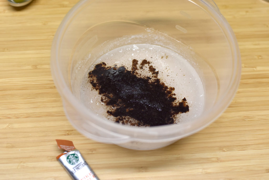 Adding instant coffee to lye solution for coffee soap