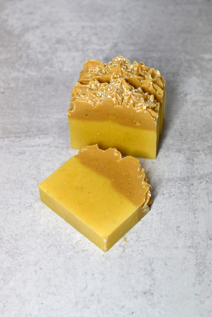 kefir and carrot cold process soap cut